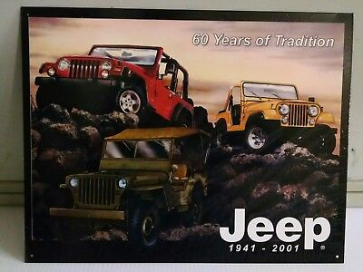 JEEP 1941-2001 60 years 3 models on metal steel Sign 24+ year old ©2001 ONLY ONE