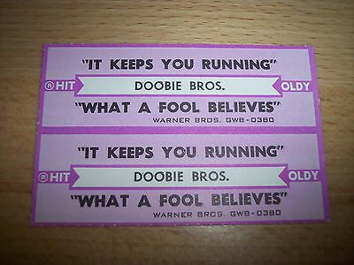 "2 Doobie Brothers It Keeps You Running Jukebox Title Strips CD 7"" 45RPM Records"