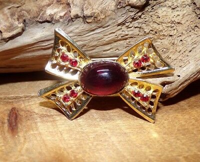 1940's-50's Vintage Bow Brooch/Pin With Large Red Glass Cabochon & Rhinestones