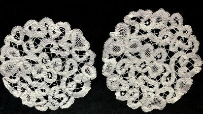 "Two Antique Gorgeous Hand Made Tape Lace Goblet Doilies 5 1/2"" dia Table Decor"
