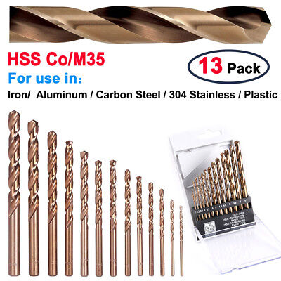 13Pcs M35 Round Shank HSS-Co Cobalt Metric Twist Spiral Drill Bit 1.5-6.5mm Kits