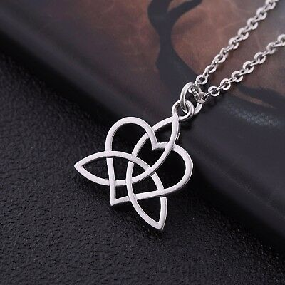 Ancient Amulet Irish Viking Celtic Trinity Triquetra Knot Heart Pendant Necklace
