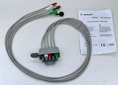 Philips M2592A 5-Lead AAMI ECG EKG Dual Pin Snap Cable Lead Set (NEW)