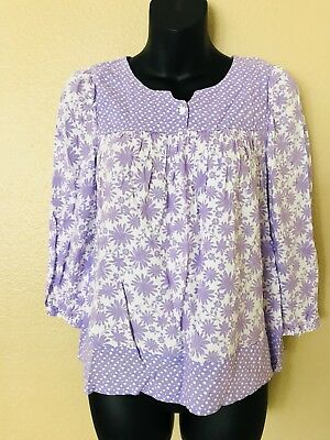FADED GLORY Juniors Girls Size XL (14-16) Top Shirt Long Sleeve Purple Floral