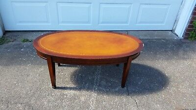 antique vintage leather top coffee table - Leather Top Coffee Table