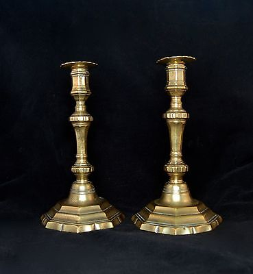 Pair Of Louis Xvth Brass Candlesticks, Chased, With Removable Bobeches; French,
