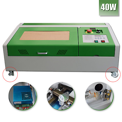 Upgraded 40W CO2 USB Laser Engraving Cutting Machine Cutter Wood working+ 4wheel