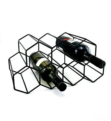 Black Metal Hexagonal Wine Rack 9 Bottle - Stackable