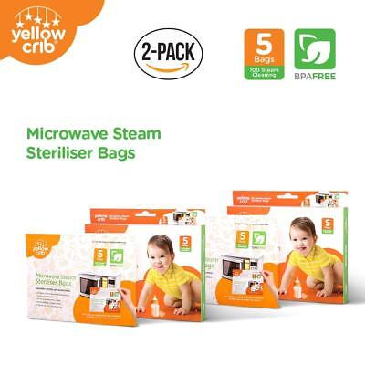 Microwave Steam Sterilizer Bag (5 Pcs) Steam Bags for Baby Bottles Soothers 2PK