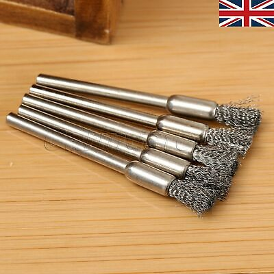 5pcs Steel Wire Pencil Brushes 5mm Grinder Stainless Steel Shank For Rotar Tool