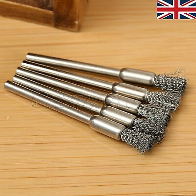 UK 5mm Shank Brush Die Grinder Stainless Steel Drill Rotary Tool For Dremel 5pcs