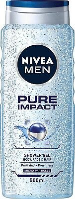 Nivea Men Pure Impact Shower Gel and body wash for face & hair 500 ml sensitive