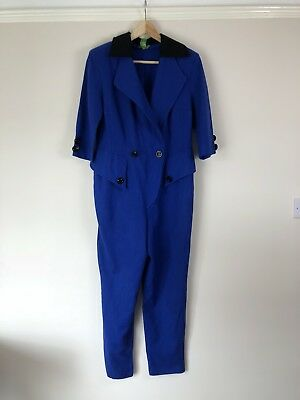 Vintage Womens Jumpsuit Gerda Oudshoorn Exclusive Dressmaker Blue Sailor 80's