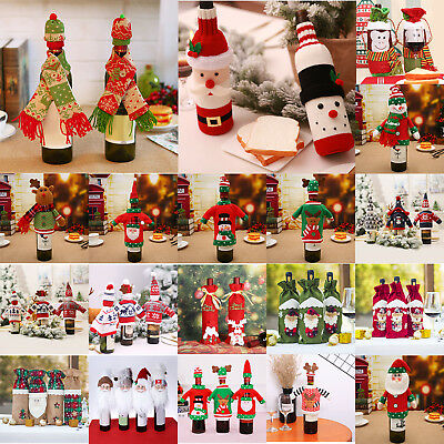 Christmas Apron Red Wine Bottle Cover Clothes Candy Bag Xmas Santa Claus Decor