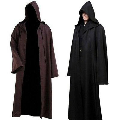Hooded Cloak Long Robe Medieval Witchcraft Larp Costume Halloween Party Cosplay