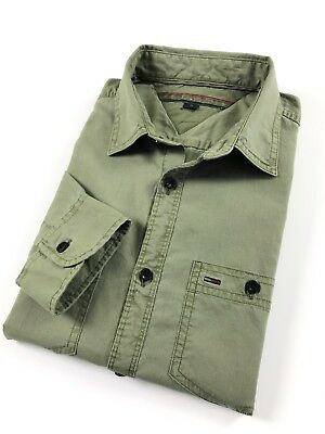 ccf89f8a61b TOMMY HILFIGER Shirt Men s Military Green Double Pocket Custom Fit Long  Sleeve