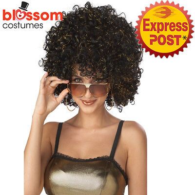 W612 Disco Glitter Afro Costume Wig Curly Disco 1960s 1970s Groovy Retro Funky