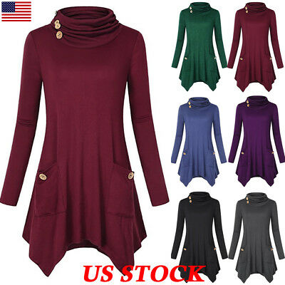 Autumn Women Long Sleeve Asymmetrical Tunic Top Button Pocket Casual T Shirt US
