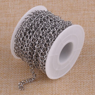 10M 32ft Roll Unwelded Stainless Steel Curb Chains Link Necklace Jewelry Making