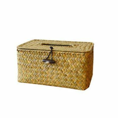 Bathroom Accessory Tissue Box, Algae Rattan Manual Woven Toilet Living Room P7S4