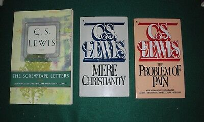 C S Lewis ~ Lot of 3 NF~ Screwtape,Christianity, Problem of Pain
