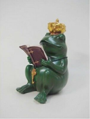 Frog King Crown Reading Book Study Figurine Figure Ornament Japan F/S