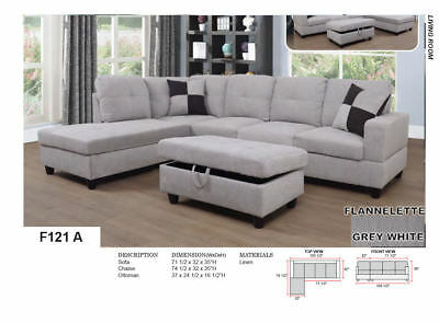 BEVERLY FURNITURE F121A/B Linen Sectional Sofa Set with Ottoman Grey white