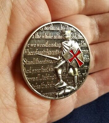 """Put On The Whole Armor Of God Spartan Crusader CHALLENGE COIN 1-3/4"""""""
