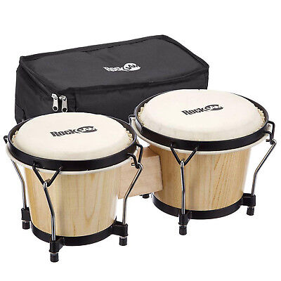 RockJam Professional 7 and 8 Inch Bongos With Deluxe Padded Bag - Natural