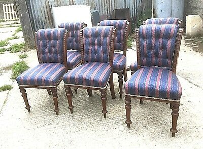 Set Of 6 Victorian Oak Dining Chairs