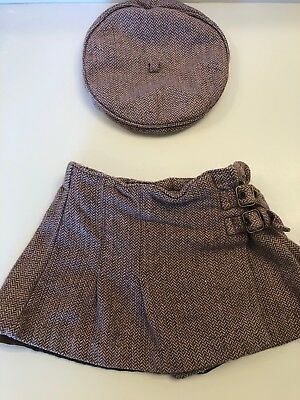 Polkatots Girls Brown and Pink Herringbone Hat and Skirt 3T Toddler