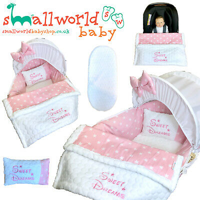 Personalised 5 Piece Moses Basket Cover Bedding Dressing Blanket Girls Pink