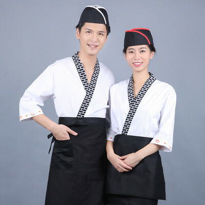 Chef Coat Japanese Style Sushi Bar Work Jacket Unisex Restaurant Hotel Uniform