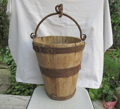 Old Antique Primitive Wooden Bucket With Handle Very Rare