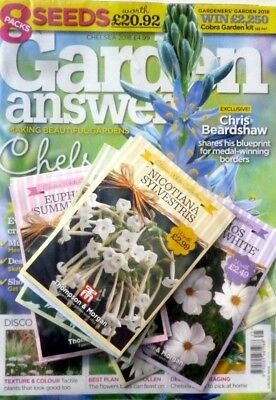 Garden Answers Magazine Chelsea Flower Show Issue 2018 With 8 Packs Of Seeds ~