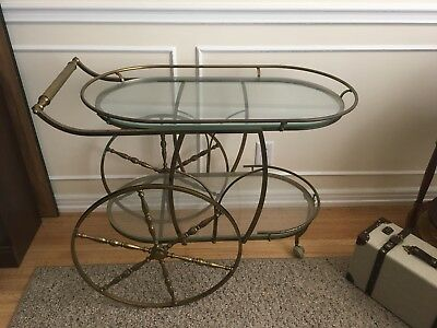 Vintage Solid Brass and Glass Oval Two-Tier Bar or Serving Cart w/ Wheels