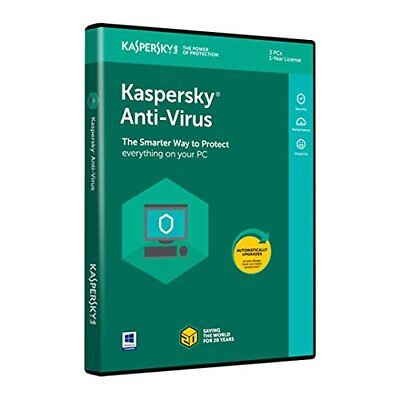 Brand New Sealed Kaspersky Antivirus 2019 3 PC 1 Year EU Anti-Virus Download Key