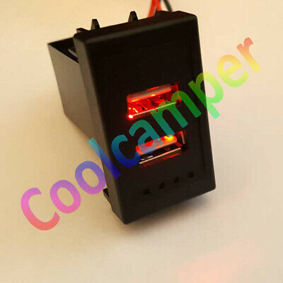BLUE VW T4 Transporter Golf Passat Style USB Charger Dash Blank Switch Twin Dual