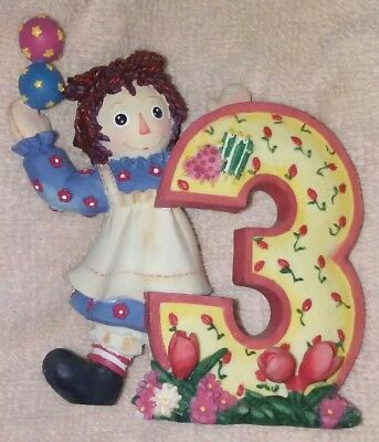 "ENESCO Raggedy Ann & Andy figurine- Number 3 ""THREE IS A HAPPY TIME FOR ME"""
