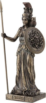 Ancient Greek Goddess Athena / Minerva with shield Decorative bronze statue 20cm