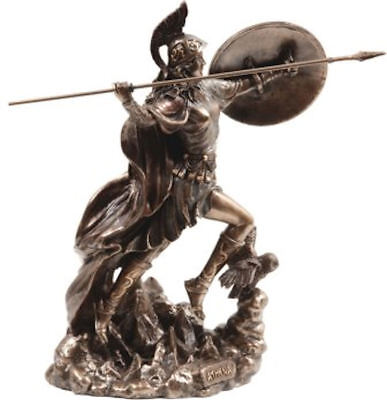 Ancient Greek Goddess Athena / Minerva throws javelin / bronze statue 22cm