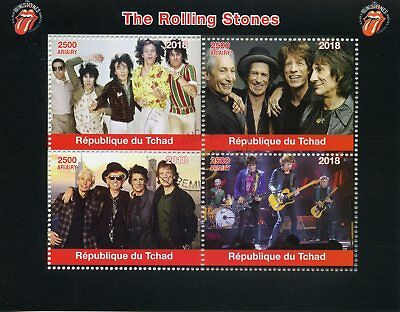 Chad 2018 CTO Rolling Stones Mick Jagger Keith Richards 4v M/S Music Stamps