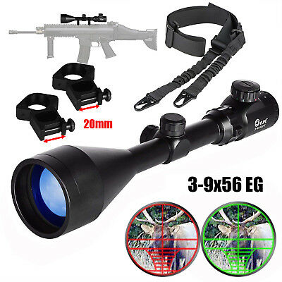 CVLIFE Two Points Rifle Sling, 3-9X56 Rifle Scope, Red and Green Mil-dot