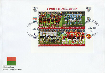 Madagascar 2018 FDC Premiership Football Liverpool Manchester 4v MS Cover Stamps