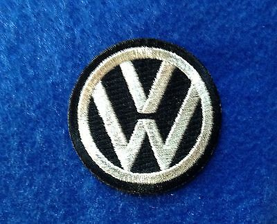 volkswagen vw iron on embroidery patch  - das auto  auto car Black Silver