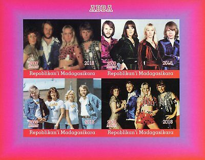 Madagascar 2018 MNH ABBA 4v IMPF M/S Music Popstars Celebrities Stamps