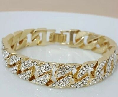18K Gold Iced Out CUBAN Miami Chain Micropave Simulate Diamond Men BRACELET UK