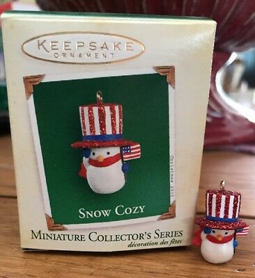 Hallmark Miniature Ornament 2005 Snow Cozy #4 in Series  Patriotic Snowman