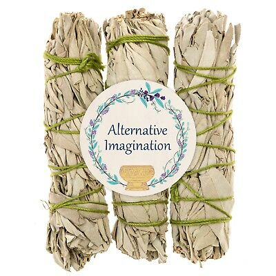 Premium California White Sage 4 Inch Smudge Sticks - 3 Pack 🌱