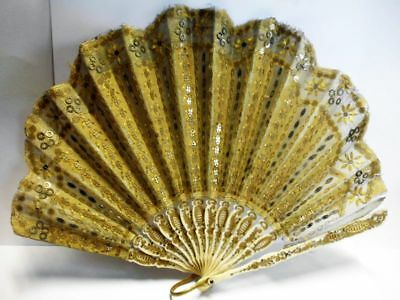 Edler antiker Fächer mit Pailletten-19. century-noble antique fan with sequins